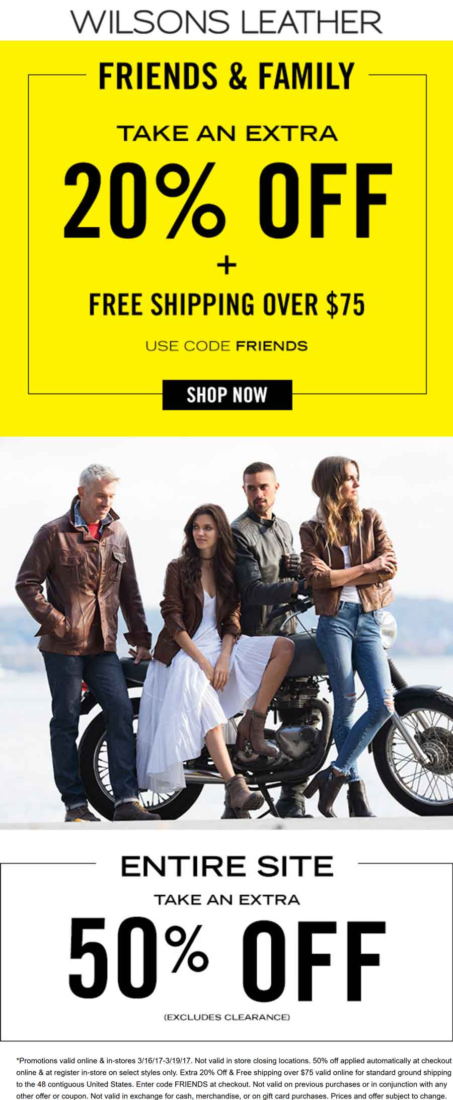 Wilsons Leather Coupon April 2018 50-70% off at Wilsons Leather, or online via promo code FRIENDS