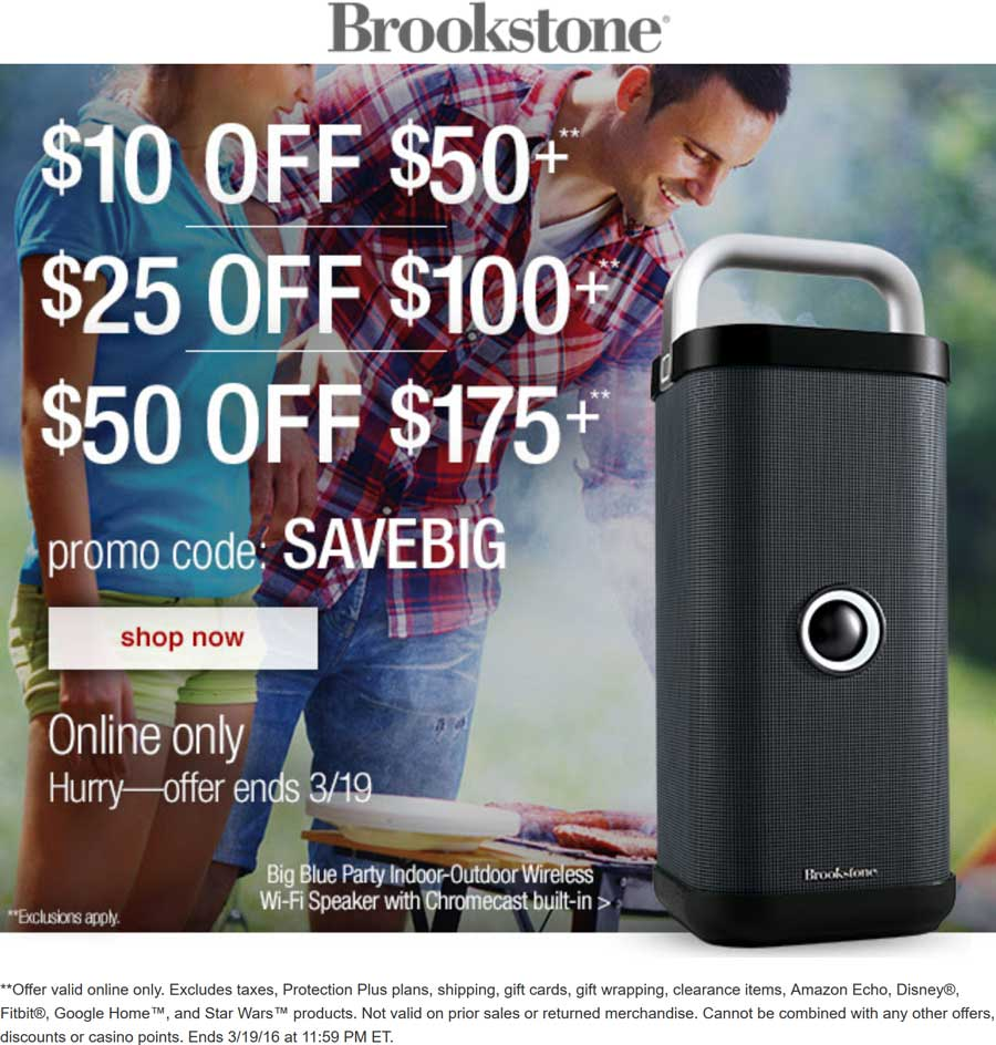Brookstone.com Promo Coupon $10 off $50 & more online at Brookstone via promo code SAVEBIG