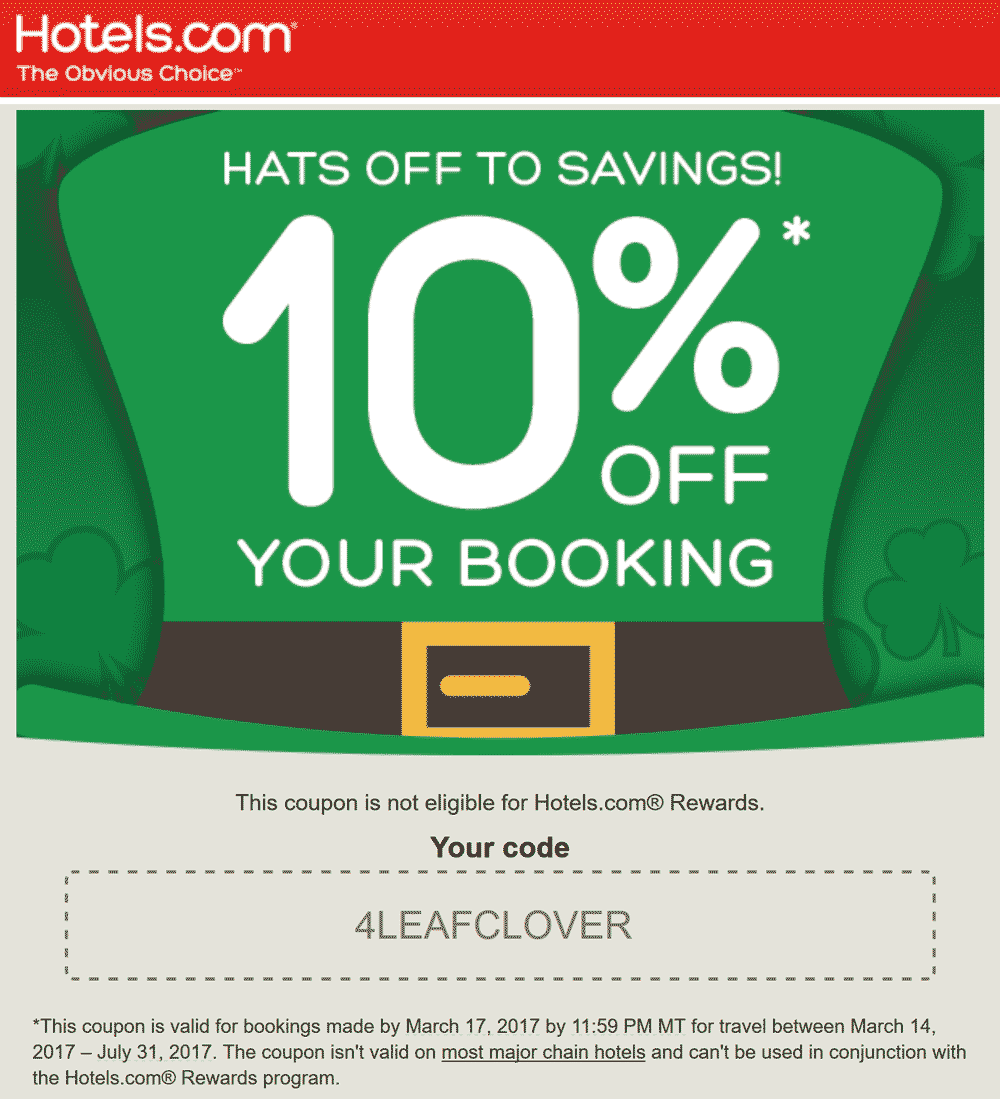 Hotels.com Coupon March 2019 10% off today at Hotels.com via promo code 4LEAFCLOVER