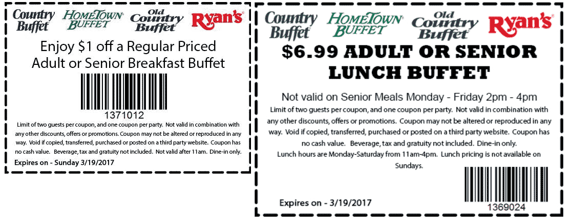 Hometown Buffet Coupon October 2017 $7 lunch buffet today at HomeTown Buffet, Ryans & Old Country Buffet