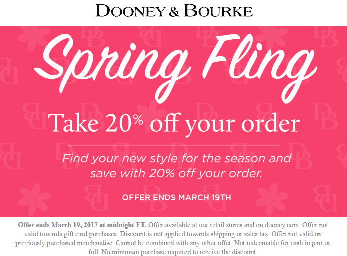 Dooney & Bourke Coupon September 2017 20% off today at Dooney & Bourke, ditto onine
