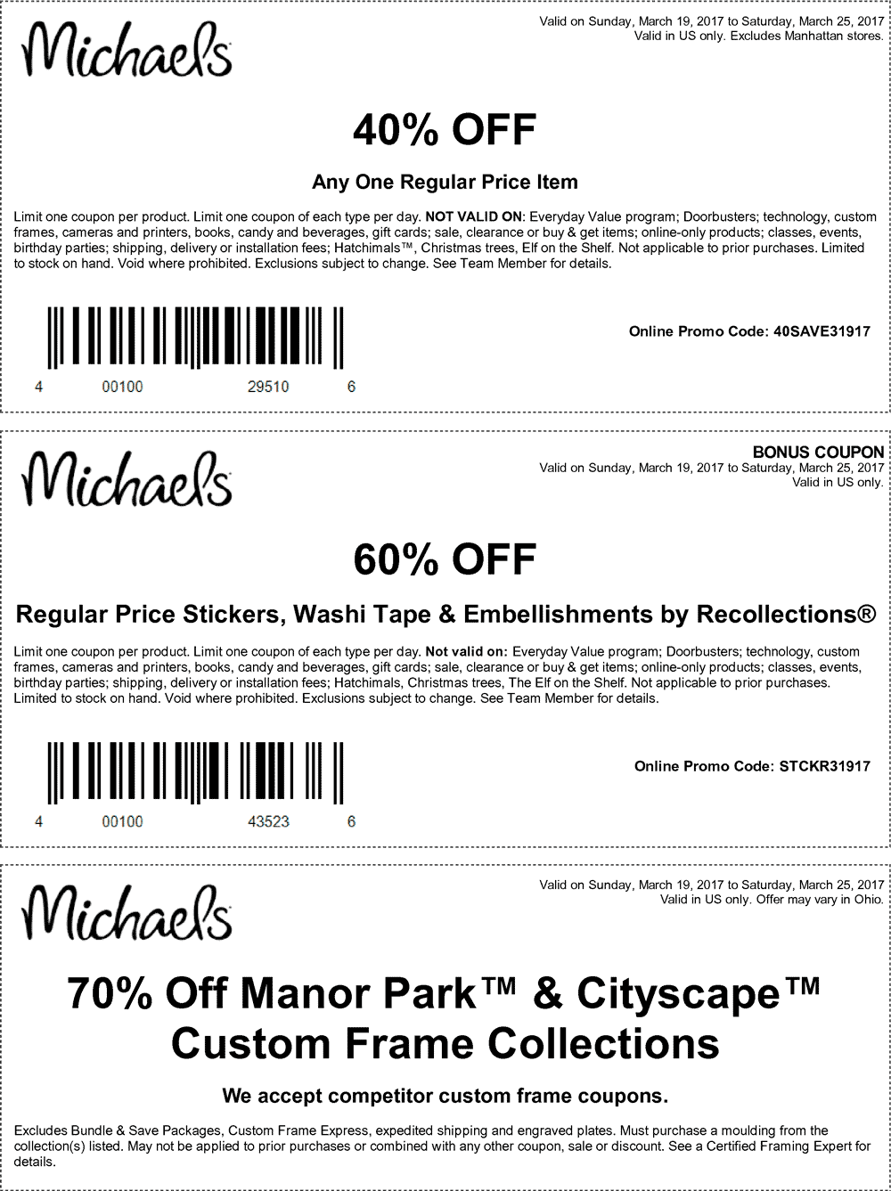 Michaels Coupon October 2017 40% off a single item at Michaels, or online via promo code 40SAVE31917
