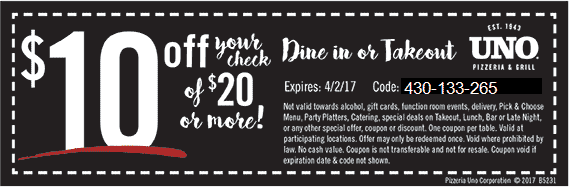 Uno Pizzeria Coupon May 2018 $10 off $20 at Uno Pizzeria & grill