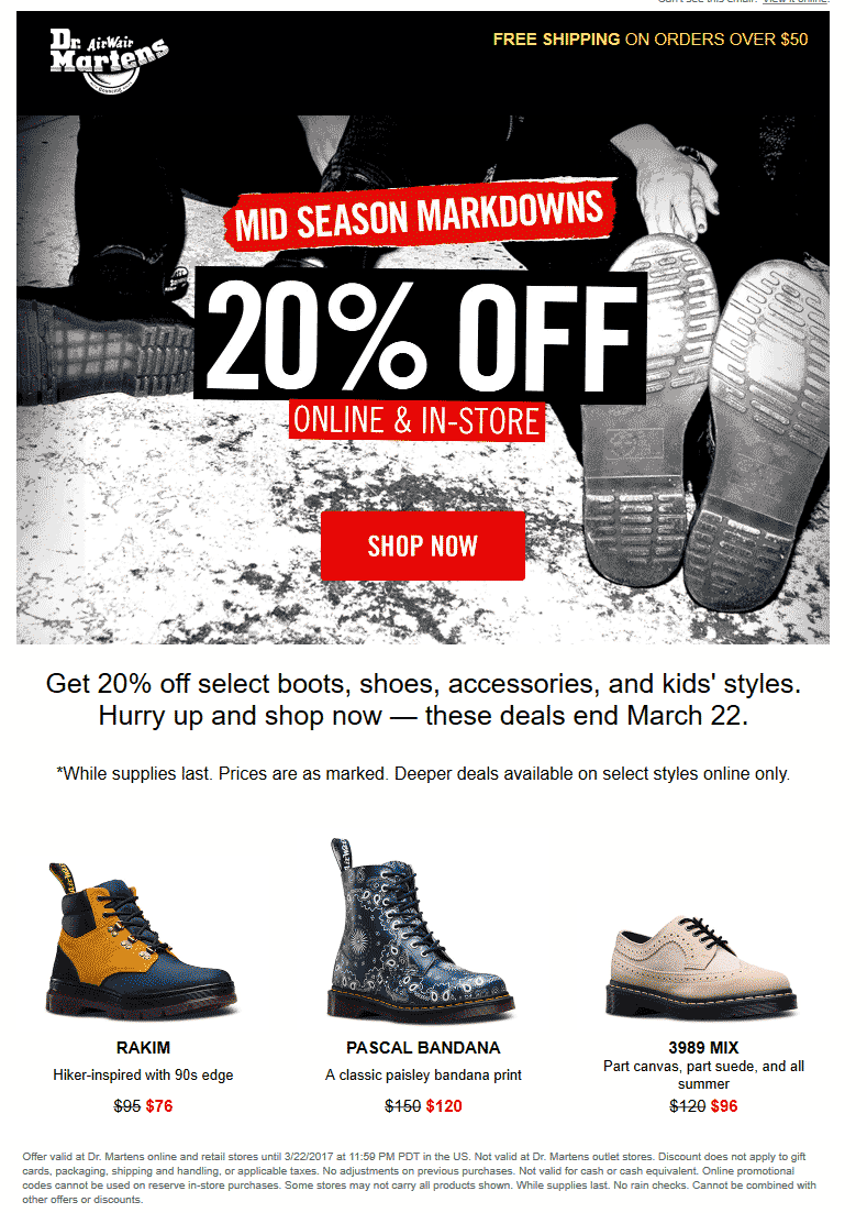 Dr. Martens Coupon August 2018 20% off at Dr. Martens, ditto online