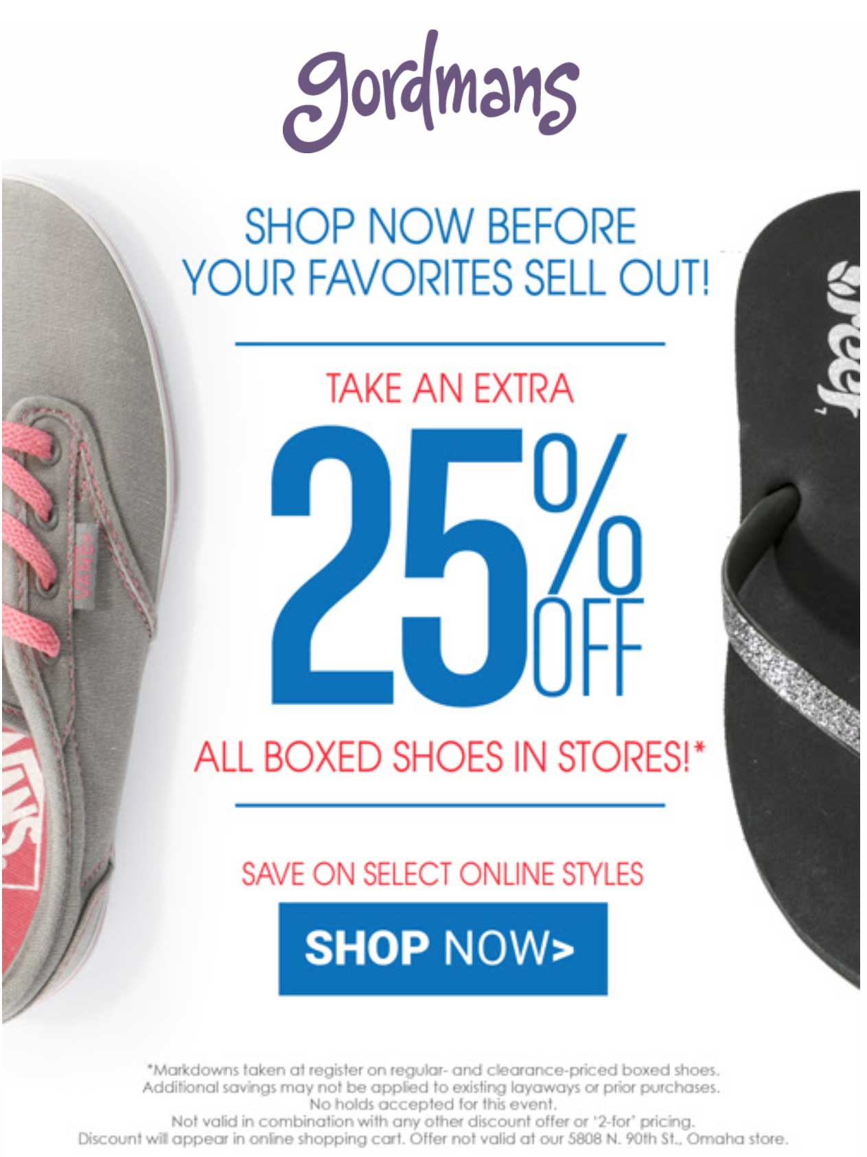 Gordmans.com Promo Coupon Extra 25% off all shoes at Gordmans