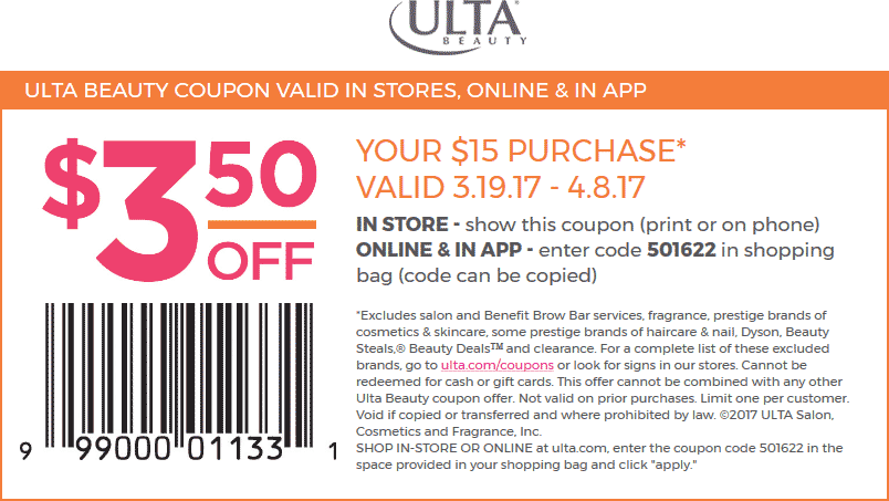 Ulta Beauty Coupon August 2018 $3 off $15 at Ulta Beauty, or online via promo code 501622