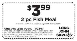 Long John Silvers Coupon December 2018 2pc fish + 2 sides + 2 hushpuppies = $4 at Long John Silvers restaurants
