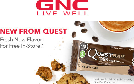 GNC Coupon August 2018 Free protein bar at GNC