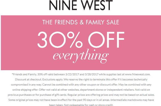 Nine West Coupon October 2018 30% off everything online at Nine West