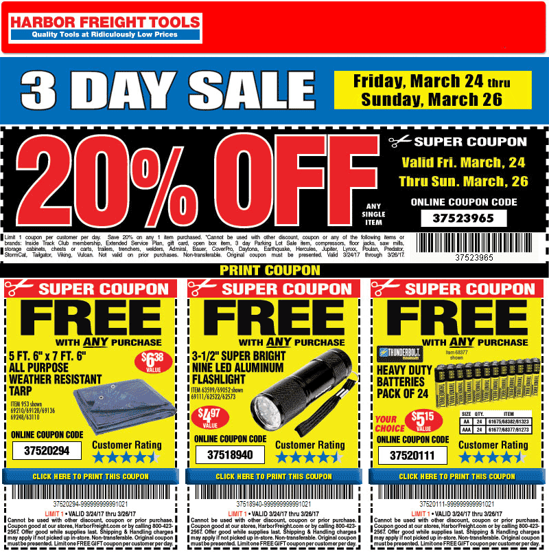 Harbor Freight Tools Coupon March 2019 20% off a single item & more at Harbor Freight Tools, or online via promo code 37523965