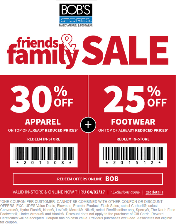 Bobs clothing store coupons