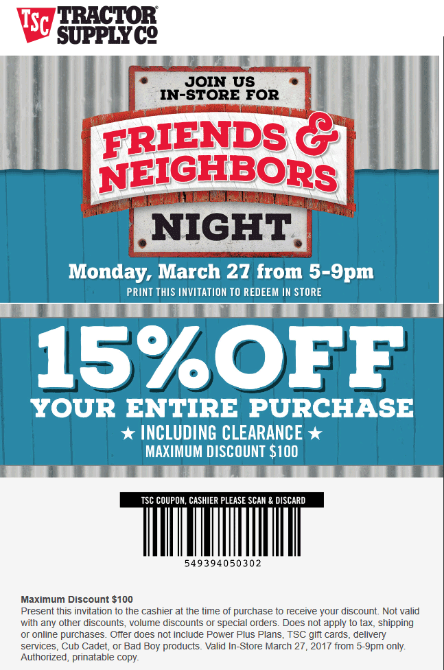 Tractor Supply Co Coupon March 2019 15% off 5-9p Monday at Tractor Supply Co