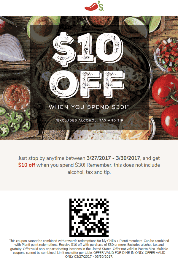 Chilis Coupon August 2018 $10 off $30 at Chilis restaurants