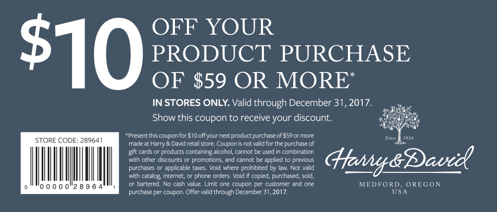 Harry & David Coupon December 2018 $10 off $59 at Harry & David gift baskets