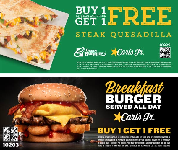 Carls Jr. Coupon November 2018 Second steak quesadilla free & more at Carls Jr. restaurants