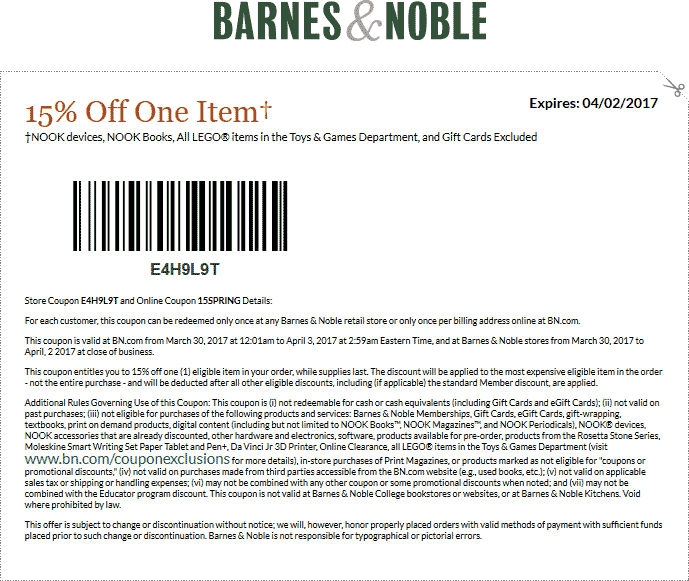Barnes & Noble Coupon March 2019 15% off a single item at Barnes & Noble, or online via promo code 15SPRING