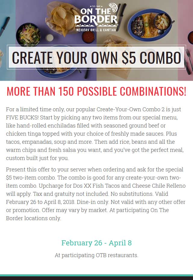 OnTheBorder.com Promo Coupon $5 pick-2 combo meal at On The Border restaurants
