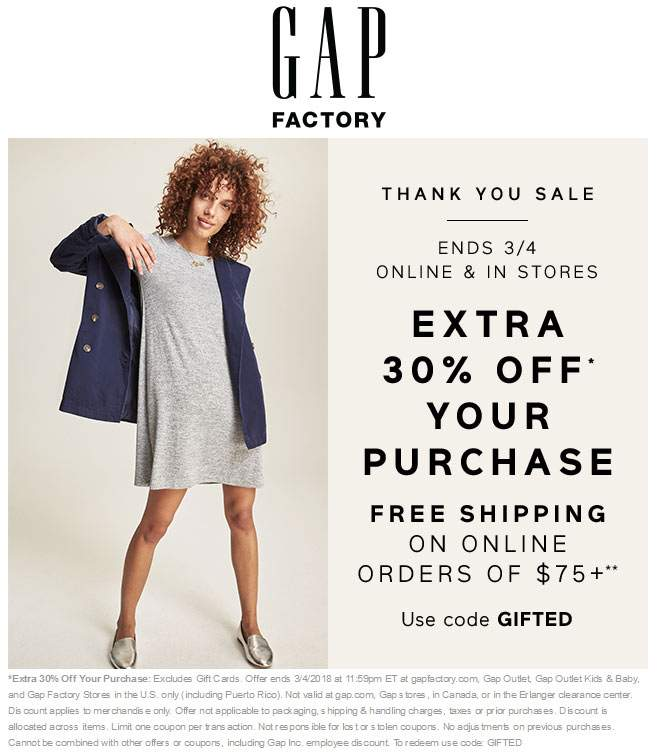 Gap Factory Coupon December 2018 Extra 30% off at Gap Factory, or online via promo code GIFTED