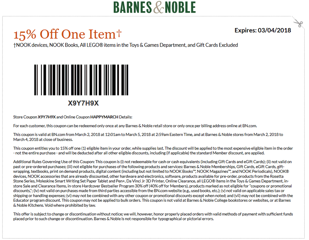 Barnes & Noble Coupon July 2018 15% off a single item at Barnes & Noble, or online via promo code HAPPYMARCH