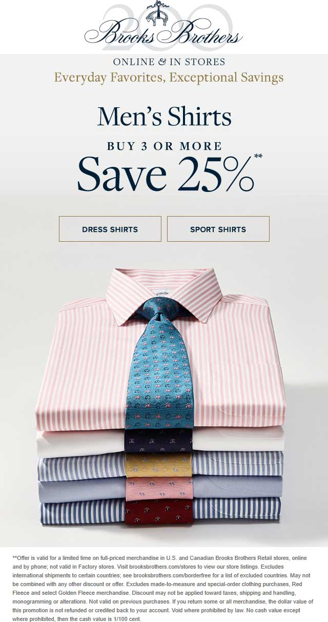 Brooks Brothers Coupon April 2019 25% off 3+ shirts at Brooks Brothers, ditto online