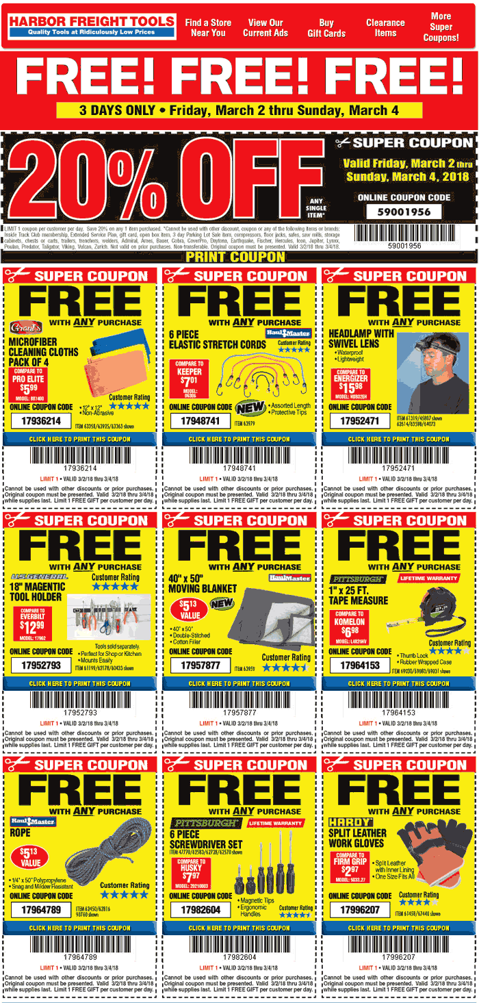 HarborFreightTools.com Promo Coupon 20% off a single item & more at Harbor Freight Tools, or online via promo code 59001956