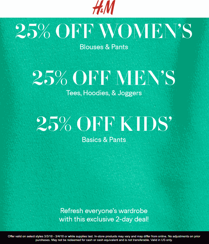 H&M Coupon January 2019 25% off at H&M, ditto online + free ship over $40 via promo 0040