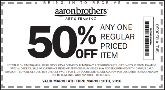 Aaron Brothers Coupon July 2019 50% off a single item at Aaron Brothers