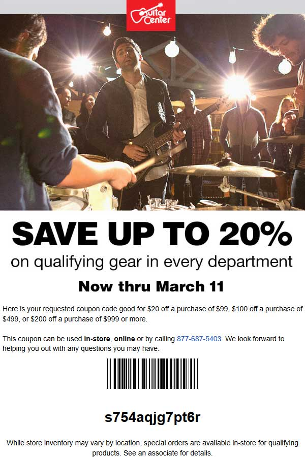 GuitarCenter.com Promo Coupon $20 off $99 & more at Guitar Center, or online via promo code s754aqjg7pt6r