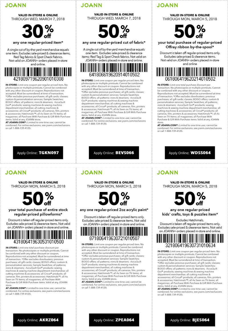 Joann Coupon October 2018 30% off a single item & more at Joann, or online via promo code TGKN097