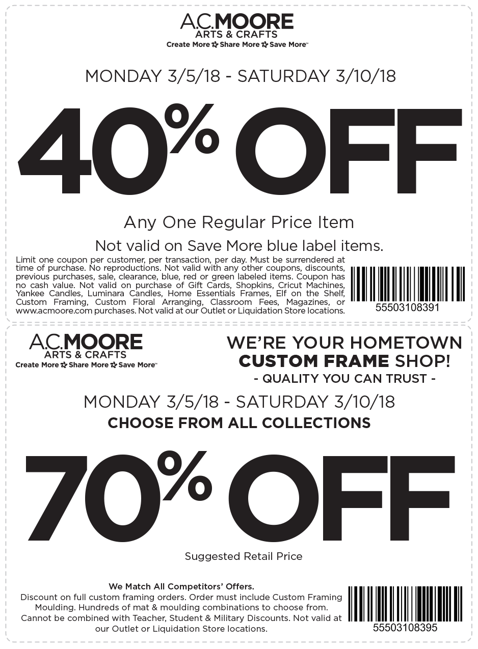 A.C. Moore Coupon June 2019 40% off a single item at A.C. Moore