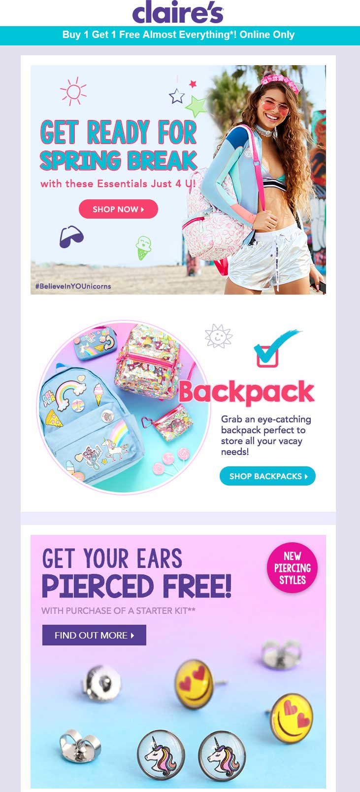Claires Coupon August 2018 Second item free online at Claires