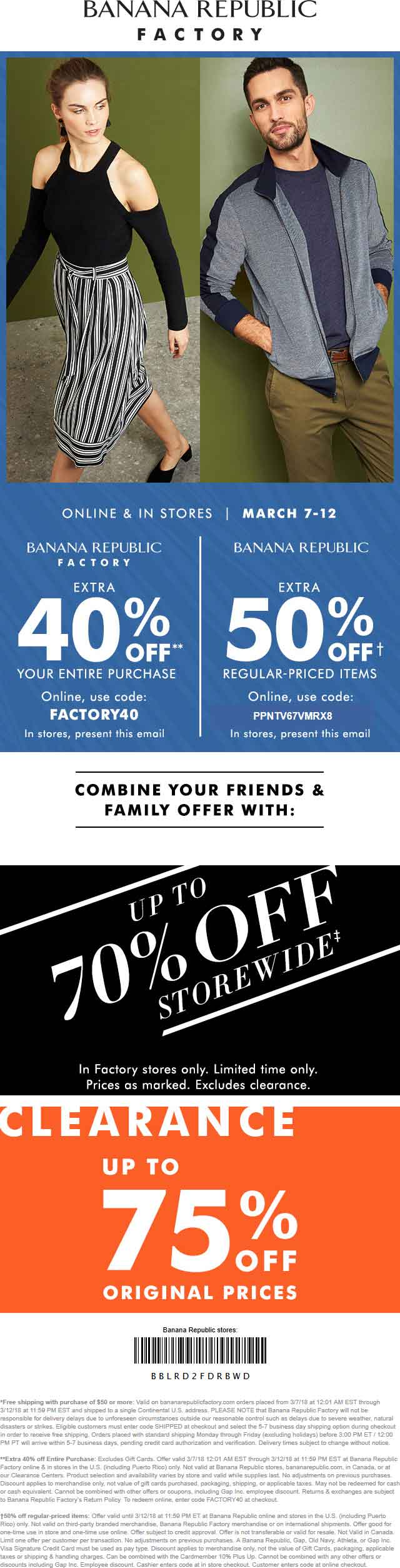 BananaRepublic.com Promo Coupon 40-50% off everything at Banana Republic & factory locations, or online via promo code PPNTV67VMRX8