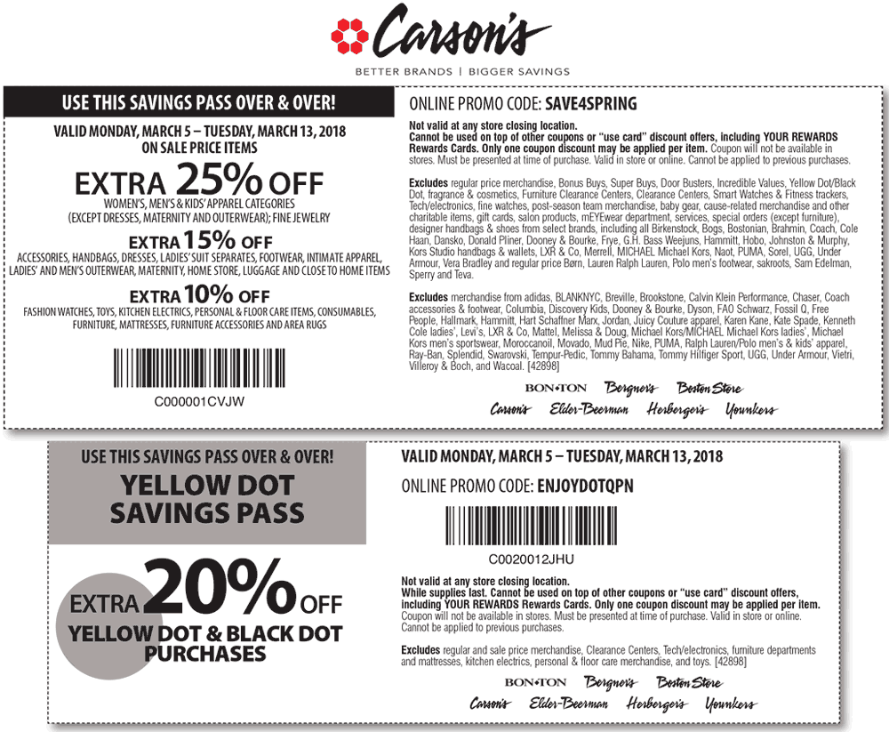 Carsons Coupon March 2019 Extra 25% off at Carsons, Bon Ton & sister stores, or online via promo code SAVE4SPRING
