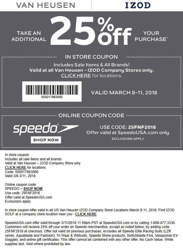 VanHeusen.com Promo Coupon 25% off at IZOD & Van Heusen, or online at SPEEDO via promo code 25FNF2018