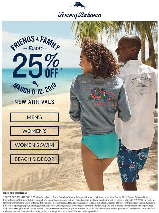 Tommy Bahama Coupon December 2018 25% off at Tommy Bahama, ditto online