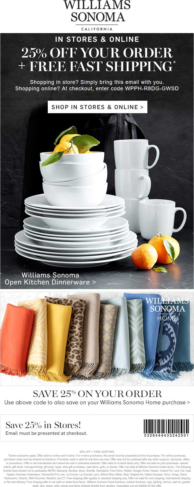 Williams Sonoma Coupon December 2018 25% off at Williams Sonoma, or online via promo code WPPH-R8DG-GWSD
