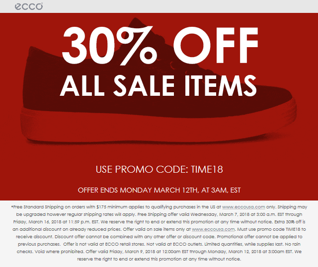 ECCO Coupon August 2018 Extra 30% off sale items online at ECCO via promo code TIME18