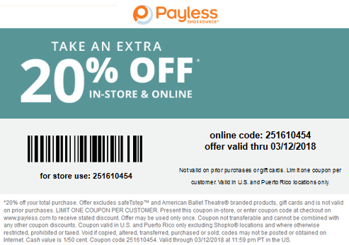 Payless Shoesource Coupon August 2018 Extra 20% off at Payless Shoesource, or online via promo code 251610454
