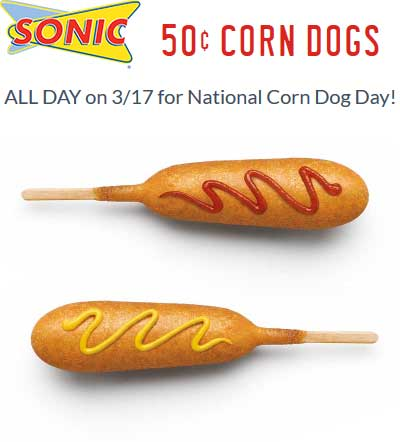 SonicDrive-In.com Promo Coupon .50 cent corn dogs the 17th at Sonic Drive-In restaurants