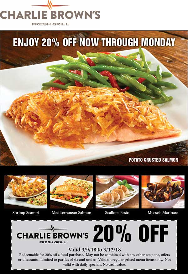 Charlie Browns Coupon October 2018 20% off at Charlie Browns restaurants