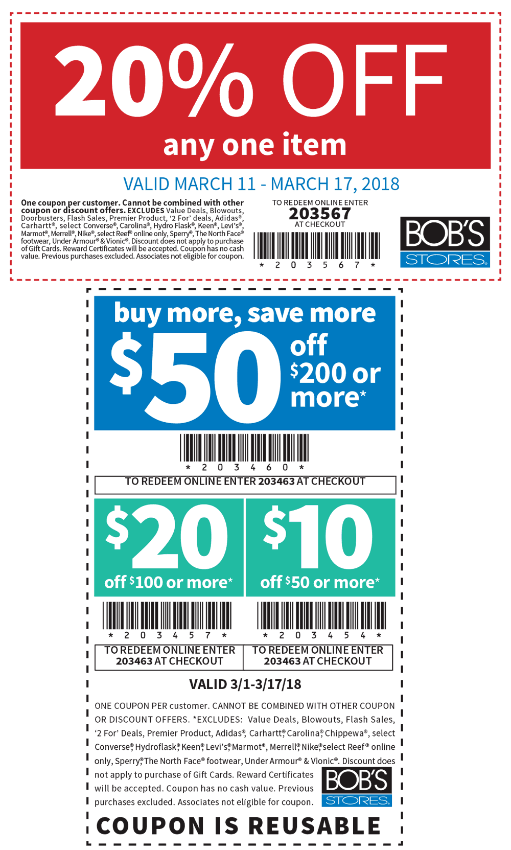 Past Bob's Stores Coupon Codes