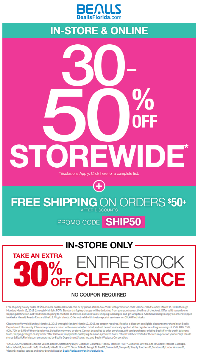 Bealls Coupon May 2019 30-50% off everything today at Bealls, or online via promo code SHIP50