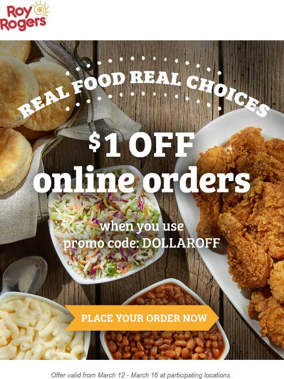 Roy Rogers Coupon March 2018 Shave a buck off online orders at Roy Rogers via promo code DOLLAROFF