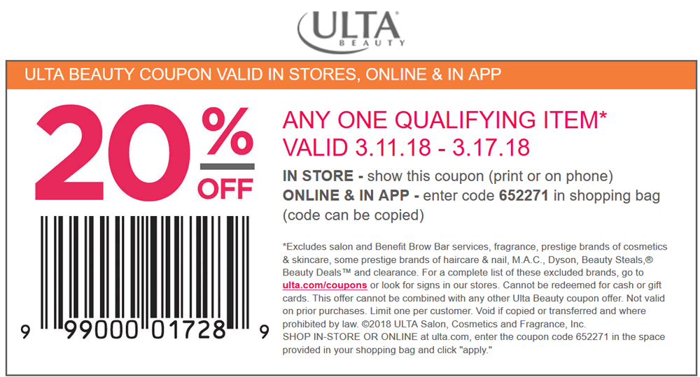 Ulta Beauty Coupon April 2019 20% off at Ulta Beauty, or online via promo code 652271