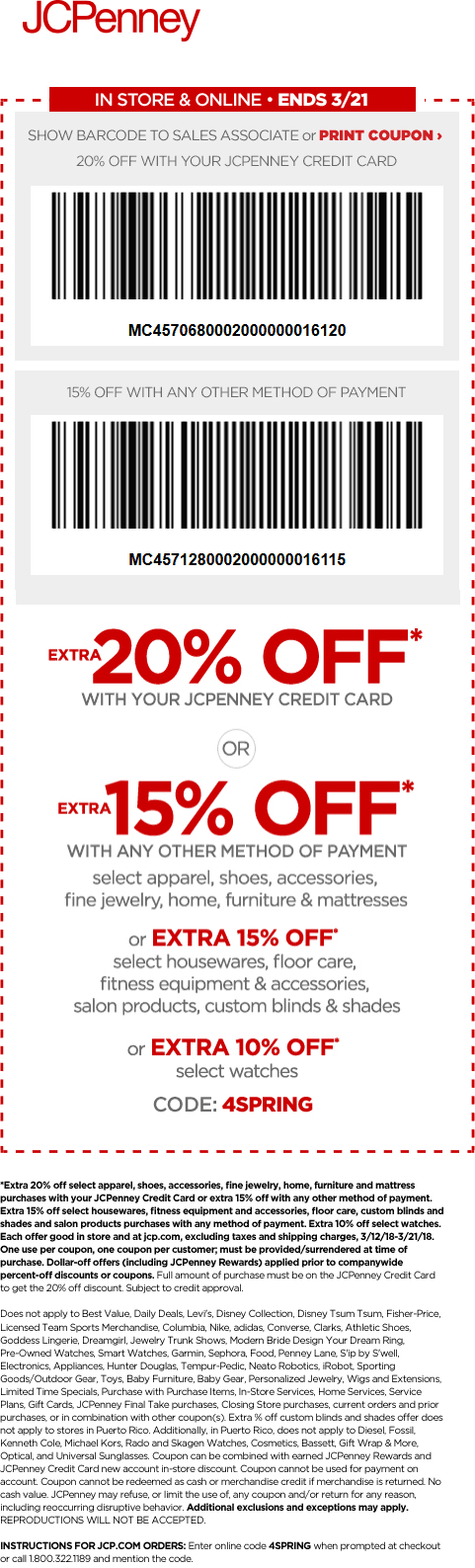 JCPenney Coupon February 2019 15% off at JCPenney, or online via promo code 4SPRING