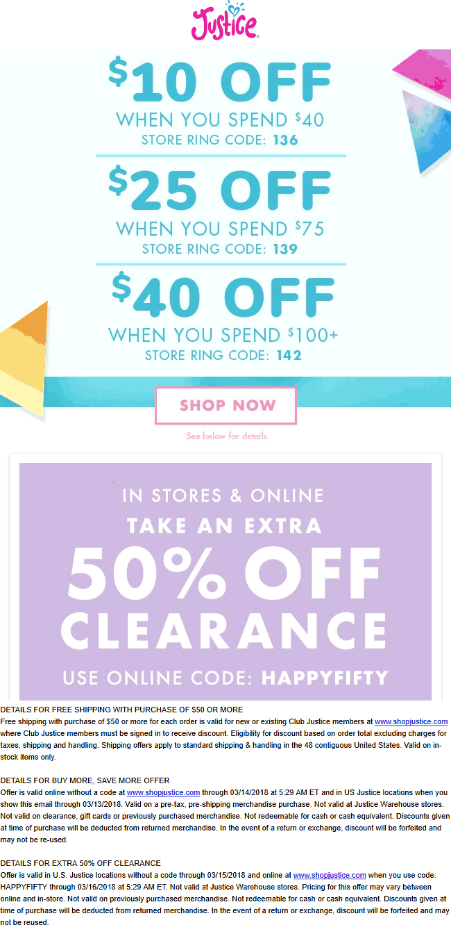 Justice Coupon May 2019 $10 off $40 & more today at Justice, or online via promo code HAPPYFIFTY