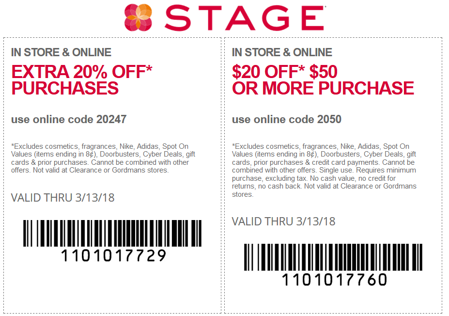 Stage Coupon June 2018 Extra 20% off today at Stage stores, or online via promo code 20247