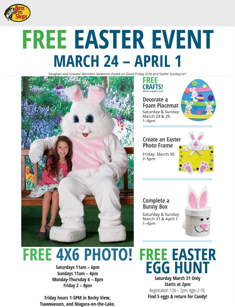 BassProShops.com Promo Coupon Free crafts & Easter bunny photo at Bass Pro Shops