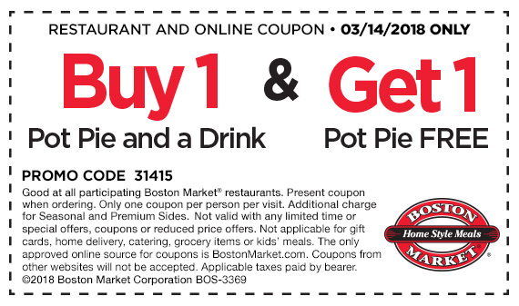 Boston Market Coupon March 2019 Second pot pie free today at Boston Market restaurants