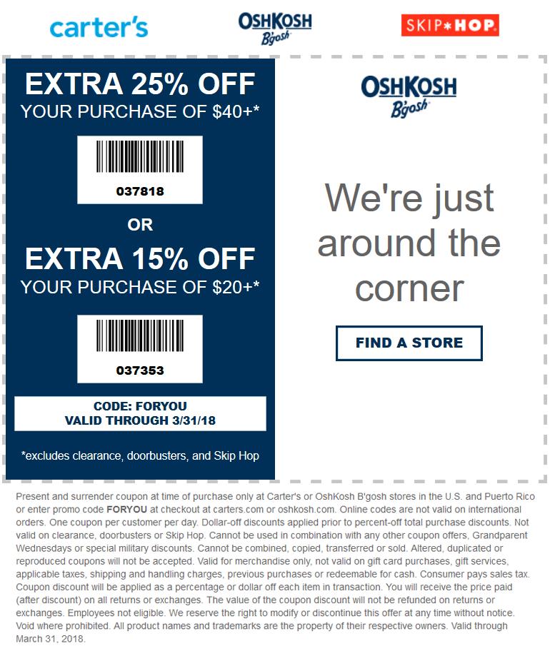 Carters.com Promo Coupon 15-20% off at Carters & OshKosh Bgosh, or online via promo code FORYOU